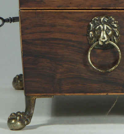 A Rare Rosewood Tea chest with twin cut crystal canisters Circa 1810