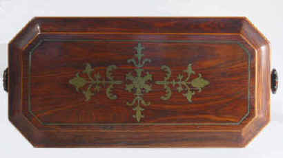 Octagonal Regency Kingwood Tea Chest with Brass inlay Circa 1810.