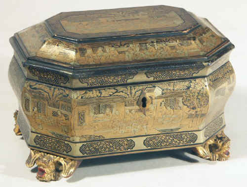 Chinese export lacquer tea chest with scenes of tea trading the interior fitted with metal canisters, circa 1840. chtealac01.jpg (112718 bytes)
