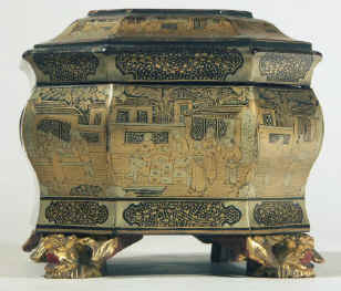 Chinese export lacquer tea chest with scenes of tea trading the interior fitted with metal canisters, circa 1840. chtealac03.jpg (127471 bytes)
