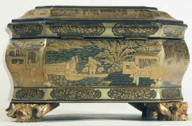 Chinese export lacquer tea chest with scenes of tea trading the interior fitted with metal canisters, circa 1840. chtealac04.jpg (117462 bytes)