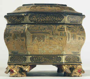 Chinese export lacquer tea chest with scenes of tea trading the interior fitted with metal canisters, circa 1840. chtealac05.jpg (131632 bytes)