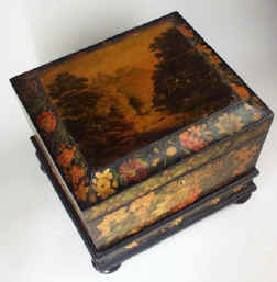 Painted tea chest, the landscape on the top attributable to Horatio McCulloch, circa 1835 mculout.jpg (56608 bytes)