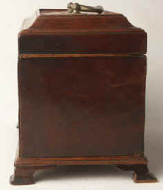 A flame mahogany tea chest  Chippendale form with a secret  drawer Circa 1770