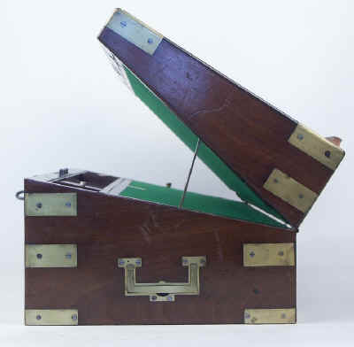 A Campaign Box with elaborate secret drawers and compartments Circa 1800 wbagsec01.jpg (65193 bytes)