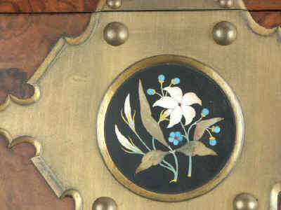 Fine Betjemann Writing Slope With Neo Gothic mounts inlaid with pietra dura Circa 1880 wbbetja07.jpg (91539 bytes)