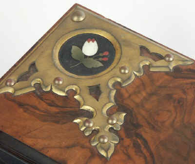 Fine Betjemann Writing Slope With Neo Gothic mounts inlaid with pietra dura Circa 1880 wbbetja08.jpg (82933 bytes)