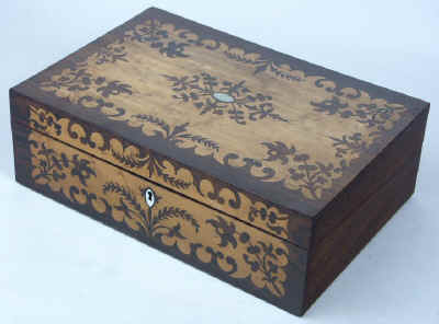 Antique Writing Box in rosewood and birds eye maple. wbbimrw07.jpg (76324 bytes)