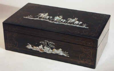A Coromandel Writing box inlaid With Mother of Pearl and Abalone depicting exotic horsemen, Circa 1850. wbcormop02.jpg (55177 bytes)