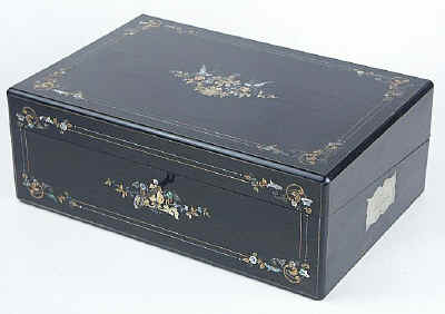 A Very Fine Writing Box Veneered with Ebony and Inlaid with metal and Abalone shell by Hausburg of Liverpool Circa 1850.