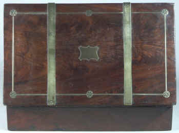 Dark mahogany writing box inlaid with brass Circa 1820.