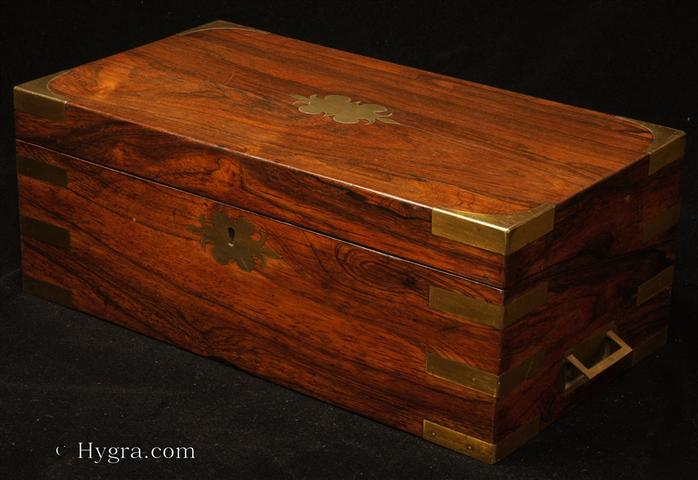 Hygra Antique Rosewood Writing Box With Brass Accents