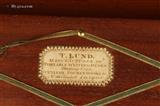 Brass edged and inlayed kingwood veneered writing box by T Lund, with Bramah type lock,
