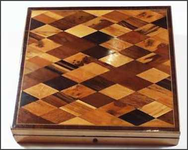 A very rare Tunbridge Ware parquetry writing slope/ lap desk of c 1800.