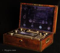 690JB:Victorian Kingwood and Brass Fully Fitted Dressing box with Bramah Lock