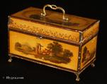733TC: Rare  complex Toleware tea chest of rectangular form. The outside is decorated with painted decoration depicting rural scenes on a  japanned ocher ground.  C. 1765