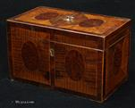 741TC: 18th Century Tea Chest in harewood and burr yew, crossbanded in kingwood. Circa 1790