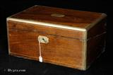 Antique Brass Edged figured walnut Writing box with  Secret drawers Circa 1875.