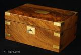 Antique Writing box veneered in richly figured walnut  with secret drawers  Circa 1840