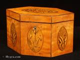 876TC:  Antique Satinwood Hexagonal Tea Caddy Inlaid with Ovals depicting stylized flowers and Prince of Wales's Feathers Circa 1800