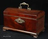 881TC: Antique 18th c. tea caddy with cast escutcheon and carrying handle and bracket feet Circa 1780