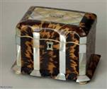 TC114: A  tortoiseshell and mother-of-pearl single compartment tea caddy of rectangular form,  with three concave panels of tortoiseshell, the interior ivory faced with ivory standing on turned bone feet. Circa: 1840.