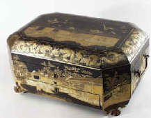 Fitted Chinese Export Lacquer Sewing  Box decorated with Tea Cultivation Scenes,  circa 1830
