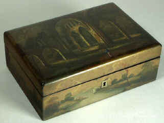 A painted Fully fitted Papier m�ch� Sewing box Circa 1835. Enlarge Picture