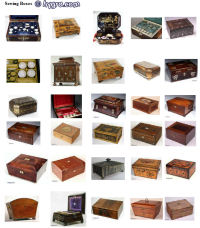 Sewing Box thumbnail index, a pictorial reference to antique sewing boxes