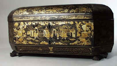 Chinese Export Lacquer Sewing� Box decorated with scenes of oriental life� circa 1850.