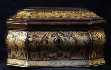 "Chinese Export Lacquer Tea Caddy with Gold Decoration depicting ""The Romance of the Three Kingdoms"" Circa 1825."