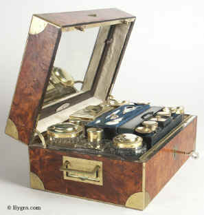 A fine Paris  NÉCESSAIRE DE VOYAGE  tightly packed with  tools and accessories for personal grooming circa 1820 Enlarge Picture