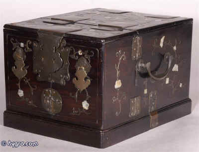 Hygra Antique Chinese hard solid rosewood mirror box inlaid in