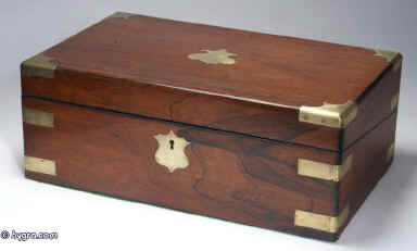 Hygra Antique Rosewood Writing Box With Brass Corners And