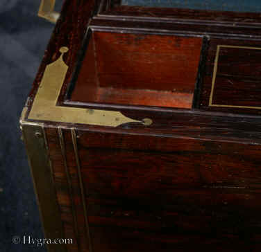 Hygra Important Brassbound Rosewood Writing Box With