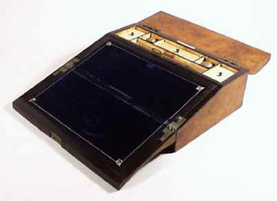 Burr Chestnut Curved Writing Slope Lap Desk Circa 1840