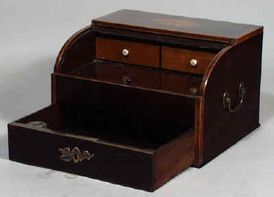 A Rare late 18th Century Mahogany, Tambour Top Writing Box Circa 1800 - Antique Writing Boxes And Lap Desks © 1999-2011 Antigone Clarke And