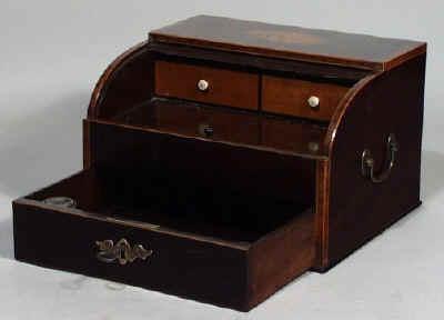 A Rare late 18th Century Mahogany, Tambour Top Writing Box Circa 1800 - Antique Writing Boxes And Lap Desks © 1999-2011 Antigone Clarke